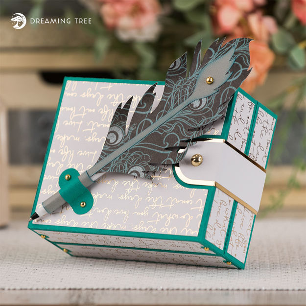 Hinged Card Box And Feather Quill Pen