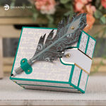 Hinged Card Box With Feather Pen