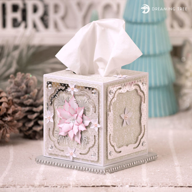 Poinsettia Tissue Box SVG