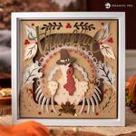 Turkey In Pilgrim Hat Thanksgiving Shadow Box