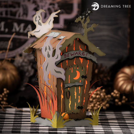 Halloween Haunted Outhouse Ghost Luminary
