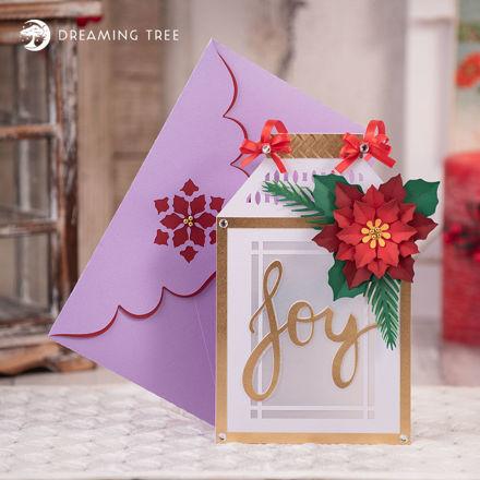 Joy Christmas Lantern Shadow Box Card