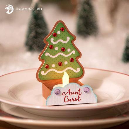 Gingerbread Christmas Tree Tea Light Place Set Name Card