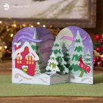 Christmas Scene Cottage Z Fold Card