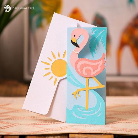 Flamingo Card (Free SVG)