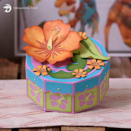 Picture of Hibiscus Gift Treat Box SVG