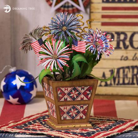 Picture of Patriotic Floral Planter SVG