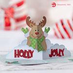 Holly Jolly Rudolph Reindeer Christmas Pop Up Card