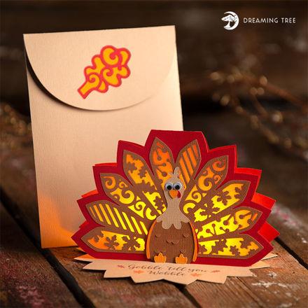 Free Thanksgiving Turkey Tea Light Card
