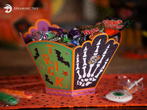 Halloween Treat Bowl Trick Or Treat Skeleton Hand