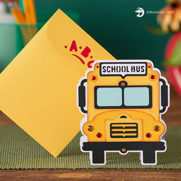 Picture of School Bus Greeting Card SVG