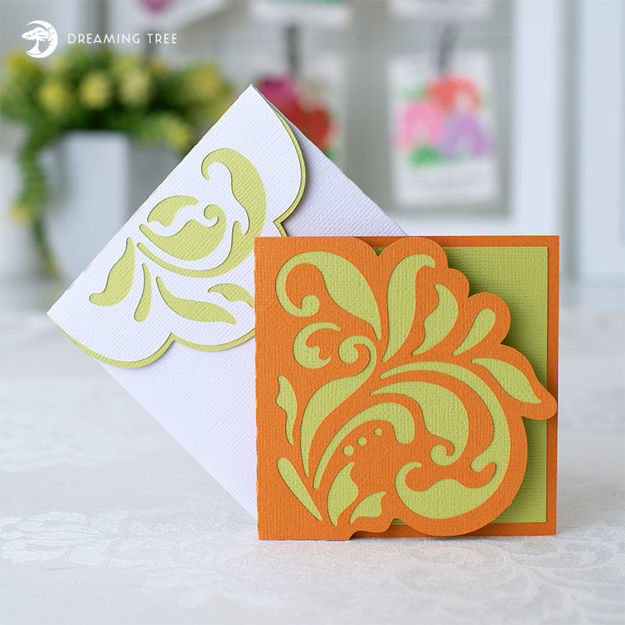 Floral Note Card (Free SVG)