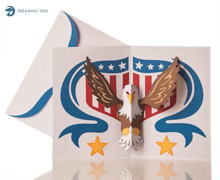 American Eagle Patriotic Pop Up Card