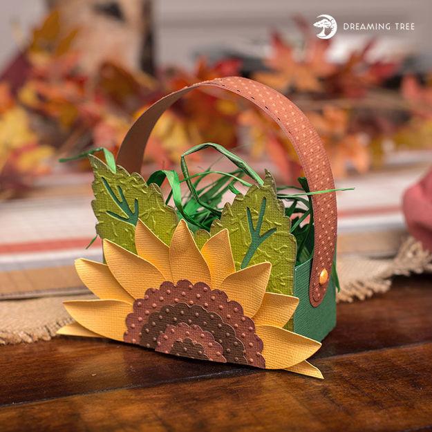 Autumn Sunflower Treat Basket Freebie