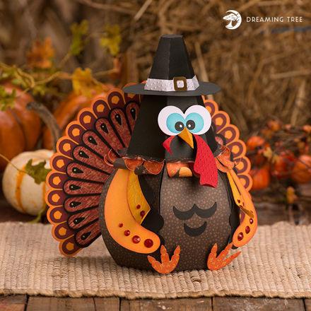 Googly Gobbler Thanksgiving Turkey Treat Box With Pilgrim Hat
