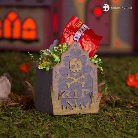 Picture of Skull Gravestone Treat Box (SVG)