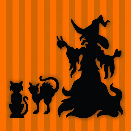 Halloween Witch and Cats (Free SVG)