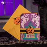 Halloween Shudder Shutter Jack-O-Lantern Card