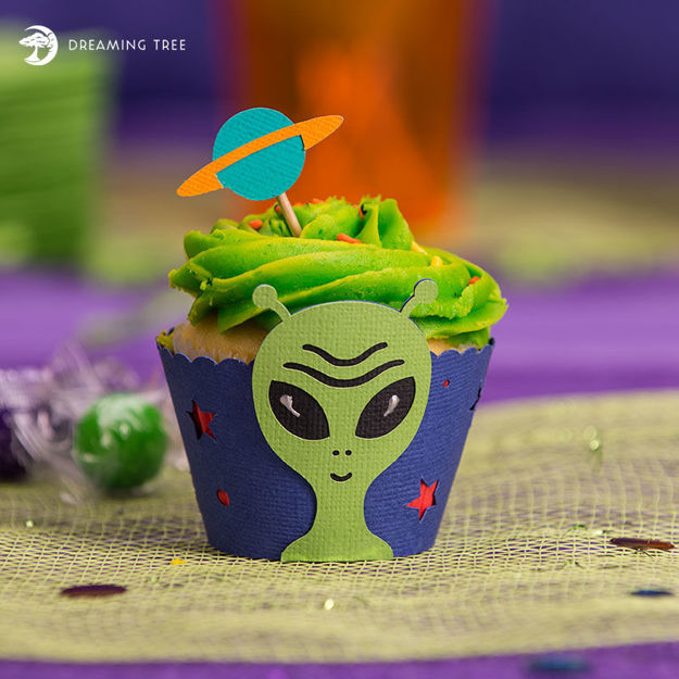 Picture of Alien Cupcake Wrapper SVG