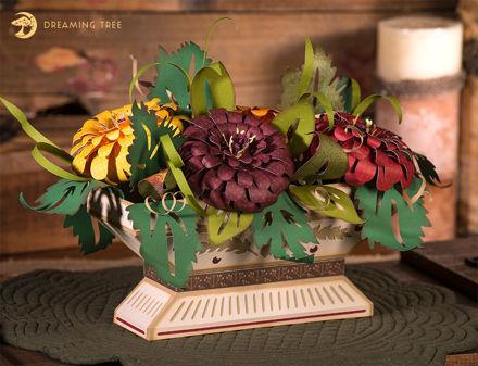 3D Zinnia Floral Arrangement
