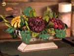 Zinnie Compote 3D Floral Arrangement