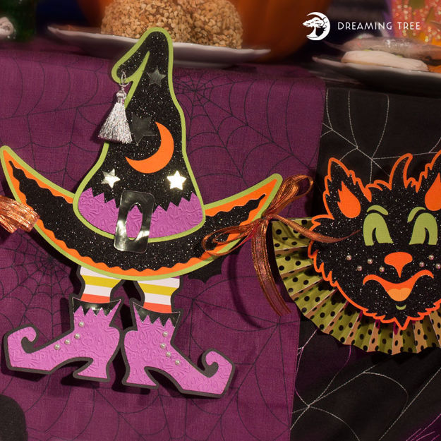 Witch Cat Owl Halloween Banner