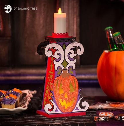 Halloween Pumpkin Jack-O-Lantern Candle Holder