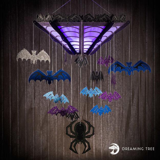 Chilling Bat and Spider Chandelier