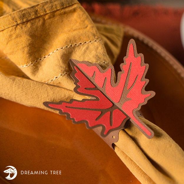 Autumn Leaf Napkin Ring (Free SVG)