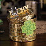 St. Patricks Day 4 Leaf Clover Lucky Coin Gift Box