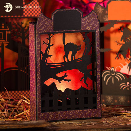 Black Cat Halloween Paperscape Box Card SVG