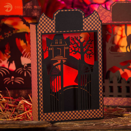 Haunted House Paperscape Box Card SVG