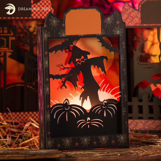 Picture of Scarecrow Halloween Paperscape Box Card SVG
