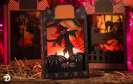 Halloween Paperscape Box Cards SVG Bundle