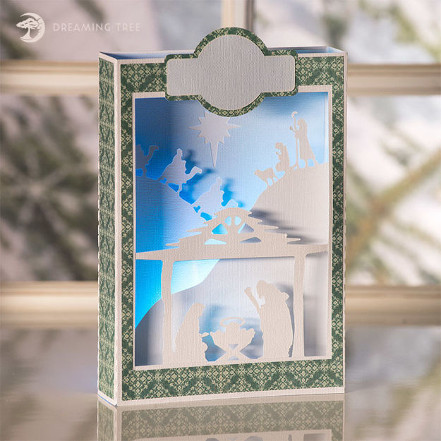 Picture of Nativity Paperscape Box Card SVG