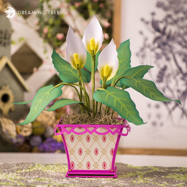 Peace Lily 3D Flower and Pot
