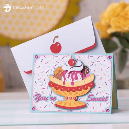 Sweet Banana Split Ice Cream Card