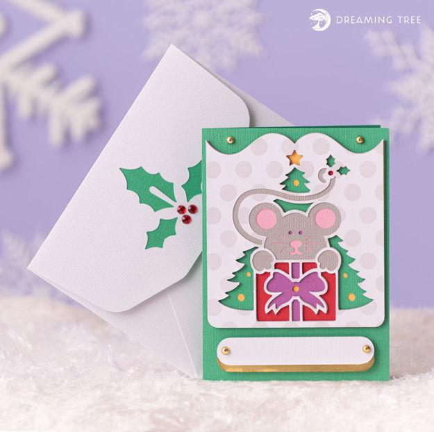 Christmas Mouse Greeting Card SVG