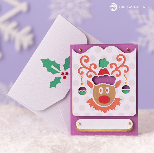 Rudolph Reindeer Christmas Greeting Card