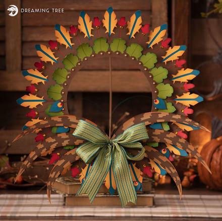 Autumn Leaf & Feathers Wreath
