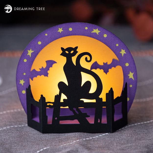 Halloween Decor Cat Tea Light With Bats