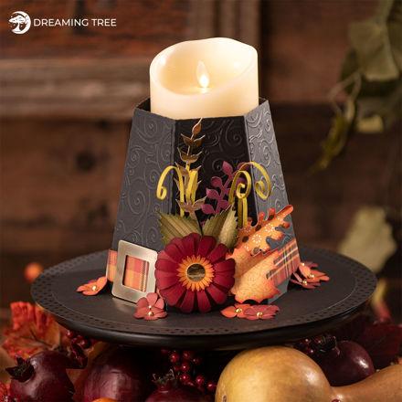 Thanksgiving Centerpiece Pilgrim Hat Candle Holder