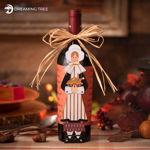 Thanksgiving Pilgrim Girl Wine Bottle Wrapper Host Hostess Gift